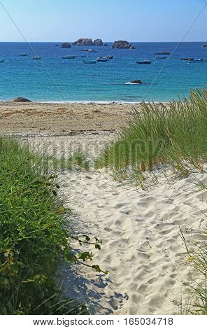 Beach in summer at Brignogan-Plages Brittany France