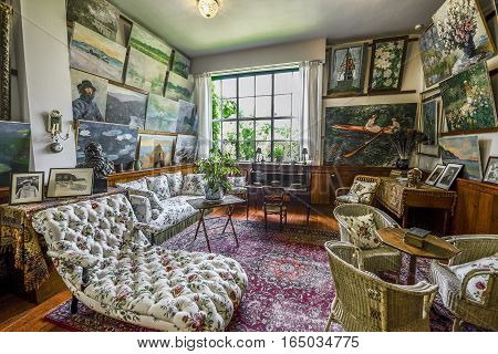 GIVERNY,FRANCE-JUNE 2016: Walking through the rooms of Claude Monet house