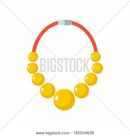 Gold Beads Isolated. Golden Necklace. Gorget On White Background.