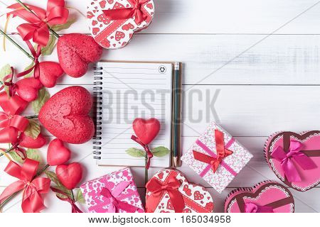 Blank Notebook With Pencil And Valentine Heart Shape Gift Box