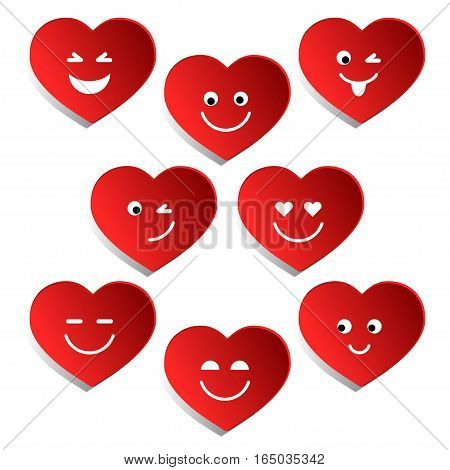 Set of hearts for Valentine's day. Collection red hearts in the form of smiley. Vector illustration