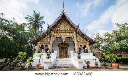 Luang Prabang, Laos - December 3, 2015: Buddhist temple in luang prabang, laos