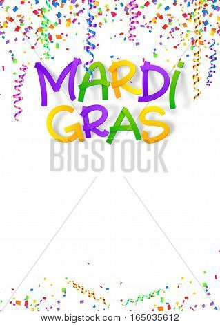 Mardi Gras traditional colors vector sign on confetti and serpentine poster background