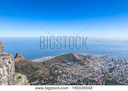 View of Cape Town and Robben Island from Table Mountain