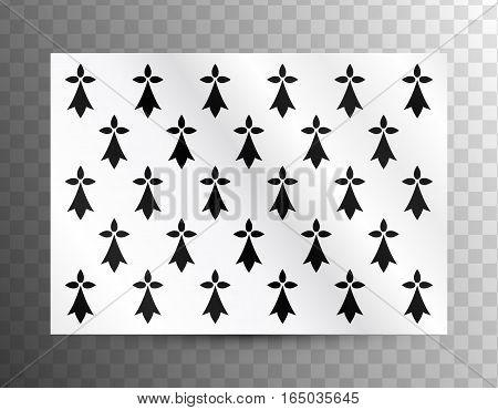Ancient flag of Brittany, France on transparent grid background