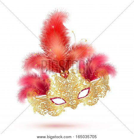 Golden glitter ornate vector carnival mask with bright red feathers isolated on white background