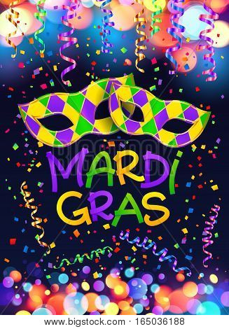 Colorful vector Mardi Gras poster and flyer template with carnival masks, serpentine and confetti on dark blue background