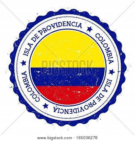 Isla De Providencia Flag Badge. Vintage Travel Stamp With Circular Text, Stars And Island Flag Insid