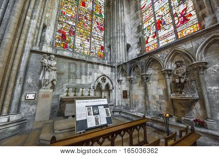 Rouen, France - June 2016: the interior of Rouen cathedral