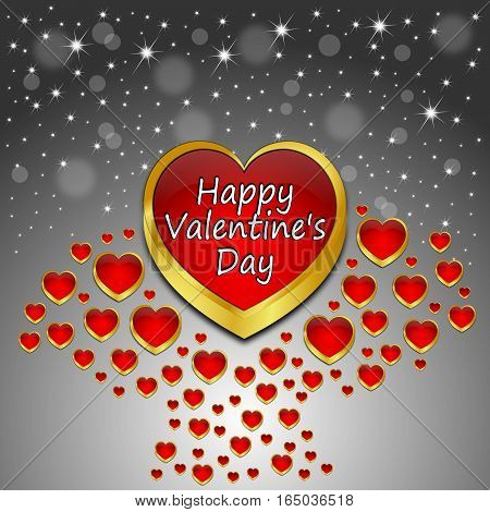 silver Valentine's Day Greeting card - 3d illustration