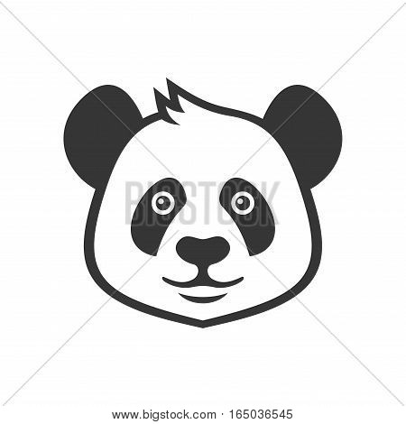 Cartoon Style Panda Icon on White Background. Vector illustration