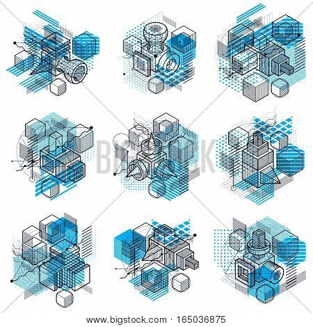 Isometric Abstractions With Lines And Different Elements, Vector Abstract Backgrounds. Compositions