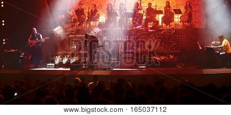 Guitarist performing on stage. Concert. View from the auditorium.