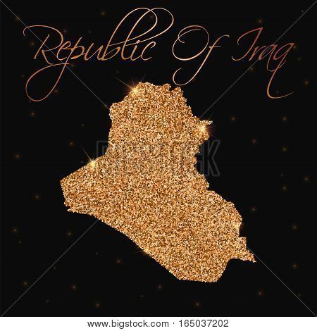 Republic Of Iraq Map Filled With Golden Glitter. Luxurious Design Element, Vector Illustration.