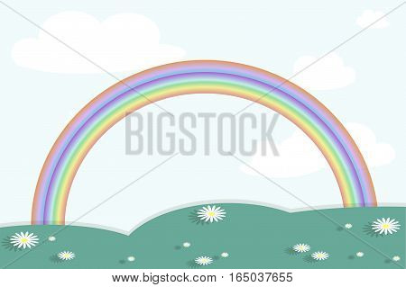 Background with landscape below on blue sky. Green hills, valley with white daisies, clouds, rainbow. Modern flat design element, stock vector illustration