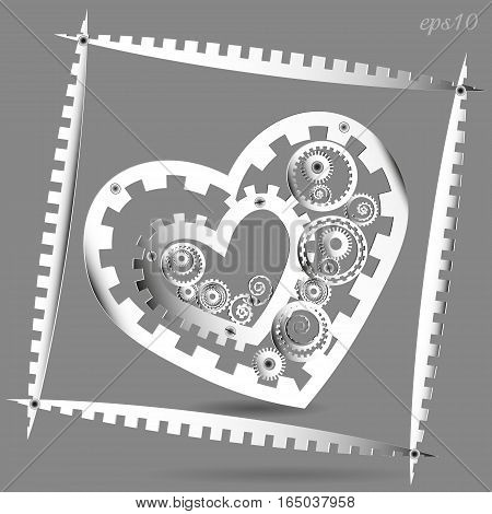 Mechanical Paper Heart Abstract frame author design, style, avant-garde techno white cog mechanism love valentine circle rivet screw shadow gray eps10 vector illustration stock handmade