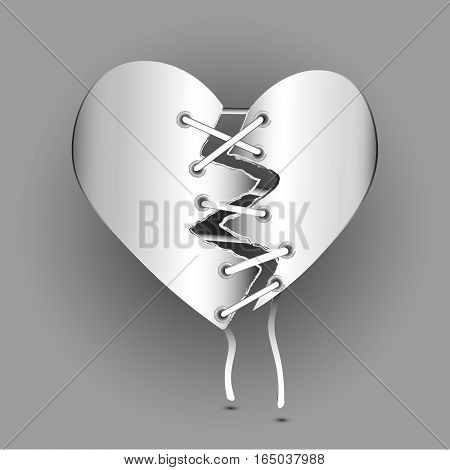 Torn heart image Abstract author design style paper lace rivet sew valentines hope two half scar handmade eps10 stock vector illustration card