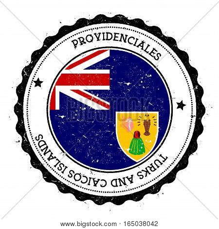 Providenciales Flag Badge. Vintage Travel Stamp With Circular Text, Stars And Island Flag Inside It.