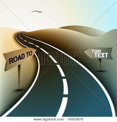 Asphalt Road in de woestijn met verkeerstekens voor tekst | Vectorillustratie
