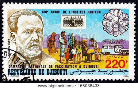 DJIBOUTI - CIRCA 1986: a stamp printed in the Djibouti dedicated to National Vaccination Campaign Centenary of Pasteur Institute circa 1986