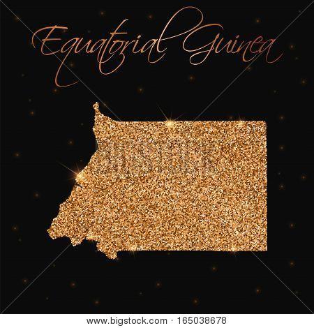 Equatorial Guinea Map Filled With Golden Glitter. Luxurious Design Element, Vector Illustration.