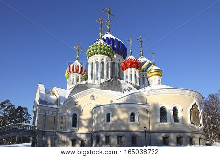 Winter veiw at Church of the Holy Igor of Chernigov in Peredelkino, Moscow region