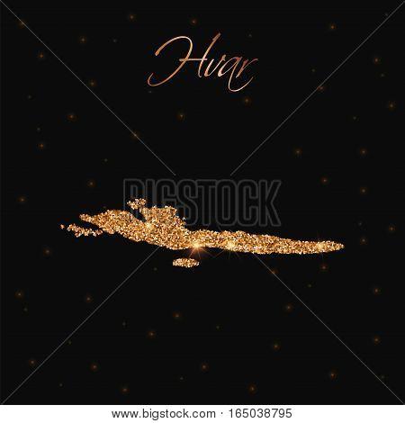 Hvar & Dalmatian Islands Map Filled With Golden Glitter. Luxurious Design Element, Vector Illustrati