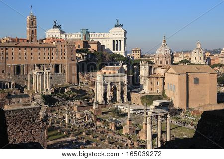 ROME, ITALY - JANUARY 1, 2017: view of the crowded Roman Forum from the Palatine