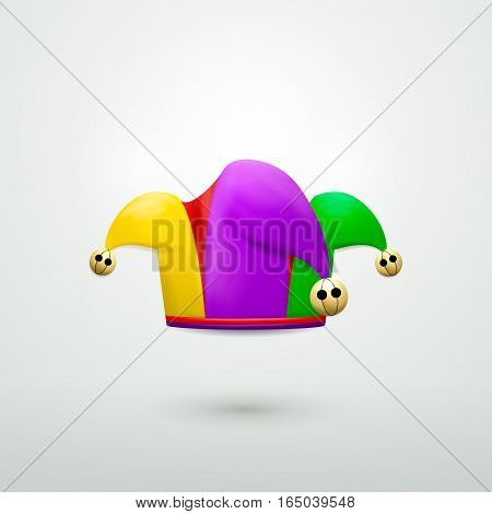 Vector illustration of Jesters hat with golden bells isolated on white background