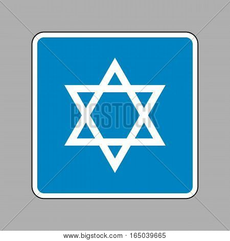 Shield Magen David Star. Symbol of Israel. White icon on blue sign as background.