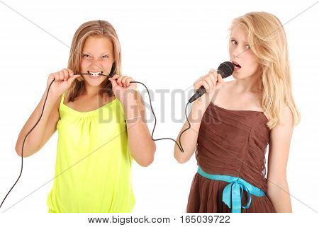 Young beautiful teenage girl conducts interviews with the singer. Isolated on white background