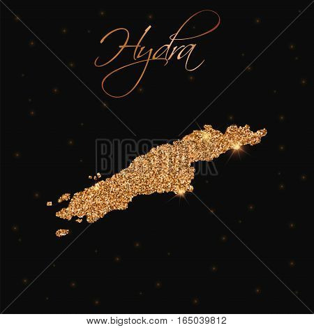 Hydra Map Filled With Golden Glitter. Luxurious Design Element, Vector Illustration.
