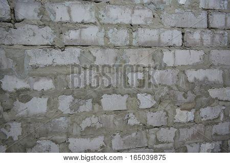 кирпичная стена кладка построенная белого кирпича на раствор
