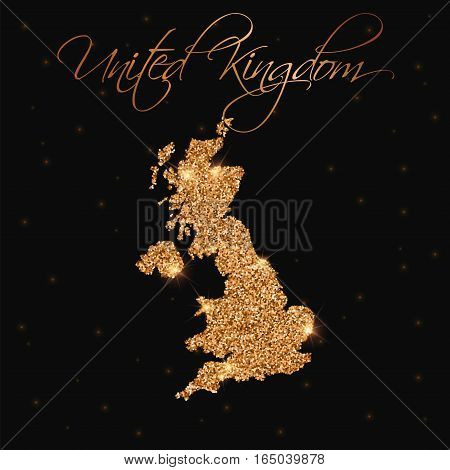 United Kingdom Map Filled With Golden Glitter. Luxurious Design Element, Vector Illustration.