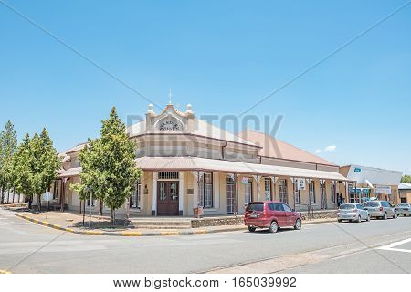 FAURESMITH SOUTH AFRICA - DECEMBER 31 2016: The historic bank building in Fauresmith built circa 1919 now used as offices for the Dutch Reformed Church