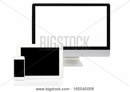 Computer Tablet and Smartphone on White Background