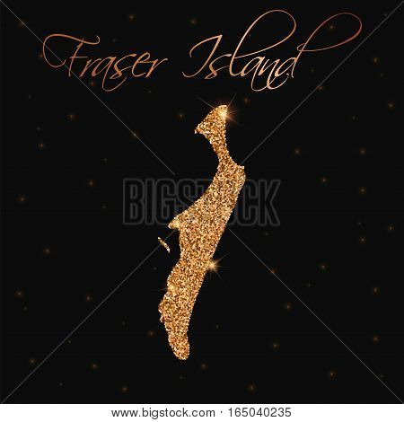 Fraser Island Map Filled With Golden Glitter. Luxurious Design Element, Vector Illustration.