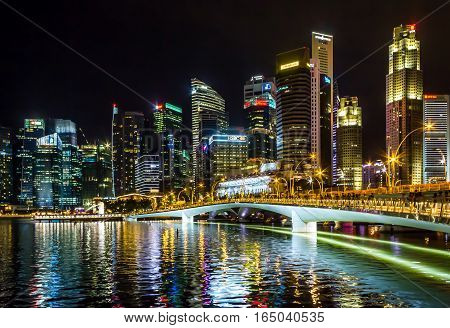 Singapore - December 25 2016: Singapore Cityscape Financial building nightfall