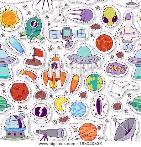 Astronomy solar system cute cartoon planets seamless pattern for kids. Vector Illustration astrology space background with rocket shuttle and moon sky.