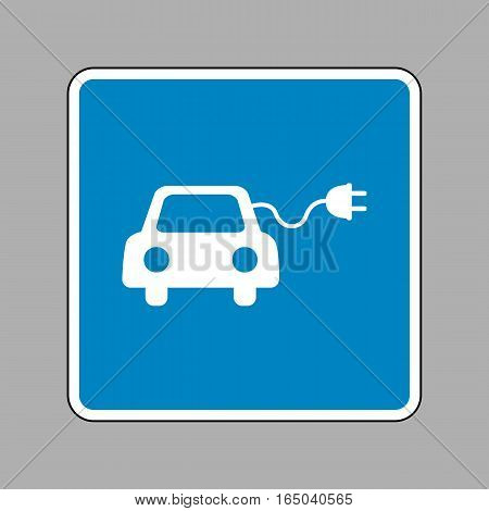 Eco electric car sign. White icon on blue sign as background.
