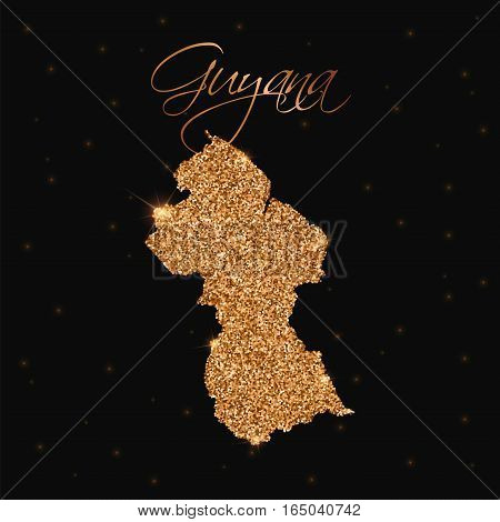Guyana Map Filled With Golden Glitter. Luxurious Design Element, Vector Illustration.
