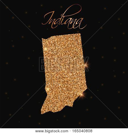 Indiana State Map Filled With Golden Glitter. Luxurious Design Element, Vector Illustration.