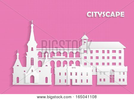 Template for the site postcard poster. The concept of ancient city cut out of white paper on pink background. Church houses and arched bridge.