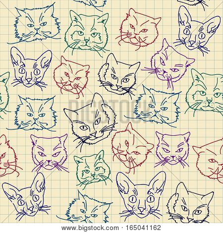 Seamless vector pattern of doodle cat heads. Imitation of drawing ballpoint pen on lined sheet of a school notebook.