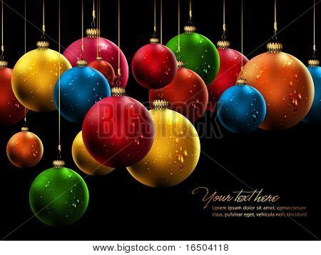 Many Christmas Balls with Shiny Water Drops | Vector Background