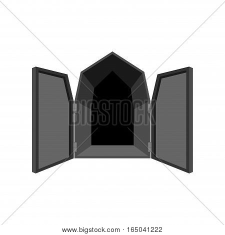 Open Doors Isolated. Door To Hell. Unblock Black Shutters On White Background.