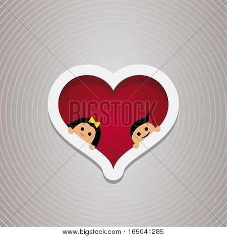 Loving couple in the hear frame. For wedding and Valentine s Day. Vector design