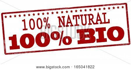 Stamp with text one hundred percent natural and bio inside vector illustration