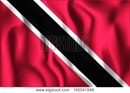 Flag Of Trinidad And Tobago. Rectangular Shaped Icon With Wavy Effect. Aspect Ratio 2 To 3