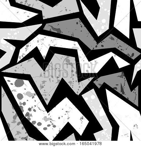 Seamless grunge graffiti pattern funky urban pattern black and white print